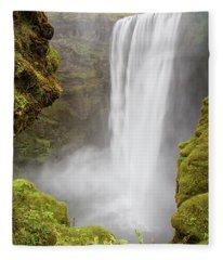 Skogafoss Iceland Fleece Blanket