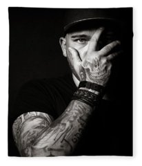 Skull Tattoo On Hand Covering Face Fleece Blanket