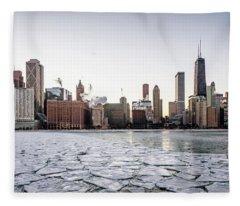 Skyline And Cracks In The Water Fleece Blanket