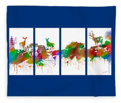 Skyline Deer Habitat 4pc Panel Fleece Blanket