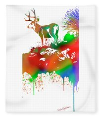 Skyline Deer Habitat Panel 4r Fleece Blanket