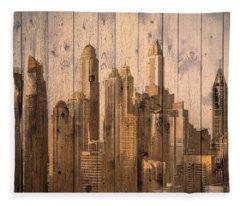 Skyline Of Dubai, Uae On Wood Fleece Blanket