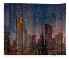 Skyline Of Frankfurt, Germany On Wood Fleece Blanket