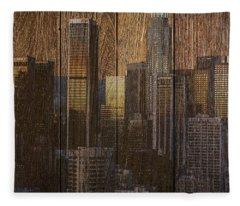 Skyline Of Los Angeles, Usa On Wood Fleece Blanket
