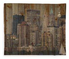 Skyline Of New York, Usa On Wood Fleece Blanket
