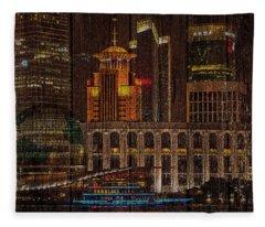 Skyline Of Shanghai, China On Wood Fleece Blanket