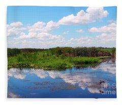 Skyscape Reflections Blue Cypress Marsh Near Vero Beach Florida C6 Fleece Blanket