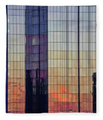 Skyscraper Sunset Fleece Blanket