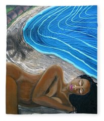 Sleeping Nude Fleece Blanket