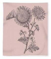 Small Anemone Blush Pink Flower Fleece Blanket
