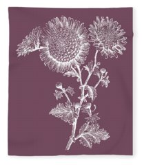 Small Anemone Purple Flower Fleece Blanket