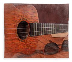 Small Guitar And Shades Fleece Blanket