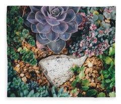 Small Succulent Garden Fleece Blanket