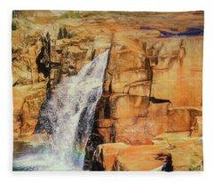 Small Waterfall In Adirondack Park. Fleece Blanket