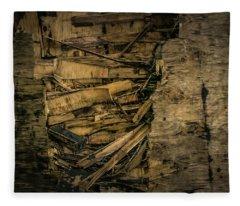 Smashed Wooden Wall Fleece Blanket
