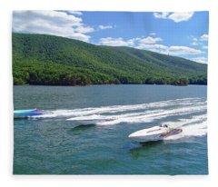 Smith Mountain Lake Poker Run Portrait Fleece Blanket