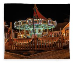 Smithville Carousel At Night Fleece Blanket