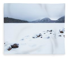 Snow Cover Jordan Pond Fleece Blanket