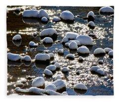 Snow Covered Rocks Fleece Blanket