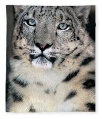 Snow Leopard Portrait Endangered Species Wildlife Rescue Fleece Blanket