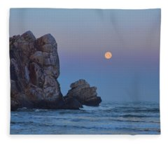Snow Moon And Morro Rock Fleece Blanket