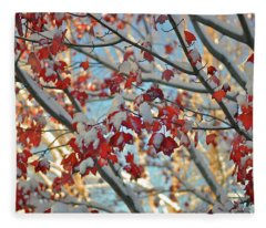Snow On Maple Leaves Fleece Blanket
