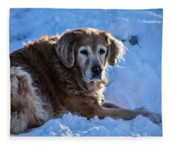 Snow Retriever  Fleece Blanket
