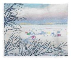 Snow Shower On The Winter Lake Fleece Blanket
