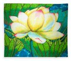 Snow White Lotus Fleece Blanket