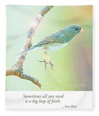 Snowbird Jumps From Tree Branch Fleece Blanket