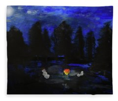 Snowmen Enjoy The Campfire  Fleece Blanket