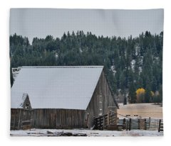 Snowy Barn Yellow Tree Fleece Blanket