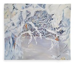 Snowy Branches In Neutrals Fleece Blanket