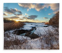 Snowy Day At Mill Creek Yarmouth Port Massachusetts Fleece Blanket