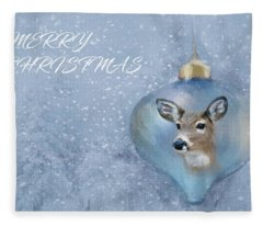 Snowy Deer Ornament Christmas Image Fleece Blanket