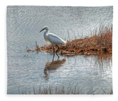 Snowy Egret Hunting A Salt Marsh Fleece Blanket