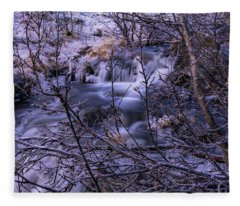 Snowy Forest With Long Exposure Fleece Blanket