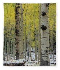 Snowy Gold Aspen Fleece Blanket
