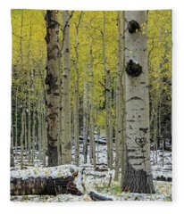 Snowy Gold Aspen Fleece Blanket