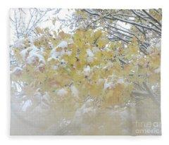 Snowy Maple Fleece Blanket