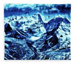 Snowy Mountains On Moonlit Night Fleece Blanket