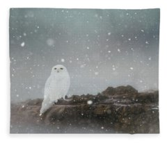 Snowy Owl On A Ledge Fleece Blanket