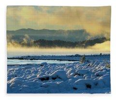 Snowy Shoreline Sunrise Fleece Blanket