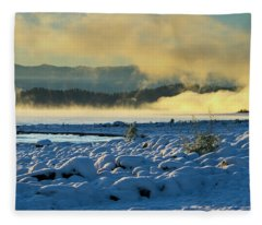 Snowy Shoreline Sunrise Fleece Blanket