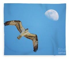 Soaring Osprey And Gibbous Moon Fleece Blanket