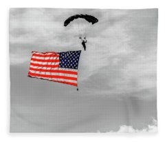 Socom Flag Jump In Selective Color Fleece Blanket