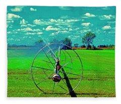 Sod Farm Irrigator Ill Country Roads  Fleece Blanket