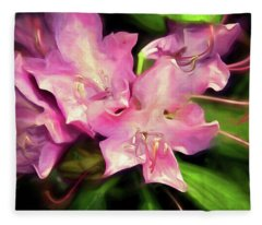 Fleece Blanket featuring the mixed media Soft Rhodie Blooms 6 by Lynda Lehmann