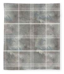 Soft Textured Cream And Blue Plaid Fleece Blanket