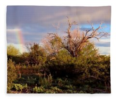 Fleece Blanket featuring the photograph Sonoran Desert Spring Rainbow by Judy Kennedy